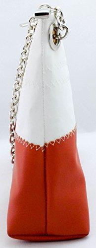 Winni:Pochette donna in vela riciclata e pelle con manico in catena alluminio anodizzato aragosta