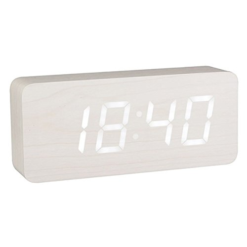Reloj despertador luminoso LED madera color blanco
