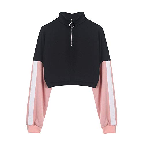 Xmiral Sweatshirt Hoodie Pullover Damen Langarm Spleißen O Hals Lässige Zipper Bluse (L,Rosa)