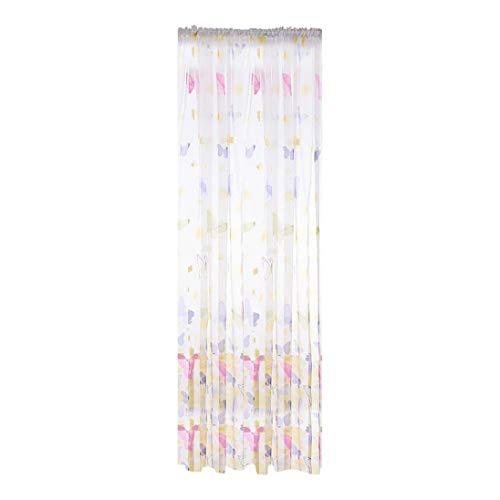 SET-SAIL Butterfly Blume Glas Garn tragen Stange Verarbeitung Vorhang transparent Vorhang Wohnzimmer Tüll 100x200cm (C) (Wohnzimmer Für Vorhang-stangen Den)