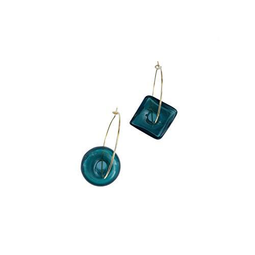 BEAUTYCHOU Ohrringe Hard Candy Retro Glas vergoldet Farbe Farbe öffnen großen Ohrring 4 cm, B