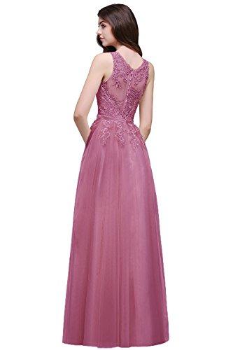 MisSow Damen Elegant Ärmellos Tüll Ballkleid Abikleider mit feiner Blumenstickerei lang Rückenfrei, Altrosa, Gr. 44