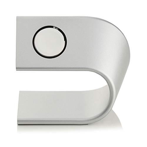 Arktis Ladestation kompatibel mit Apple Watch Alu Ständer Halterung Tischständer Dockingstation Silber