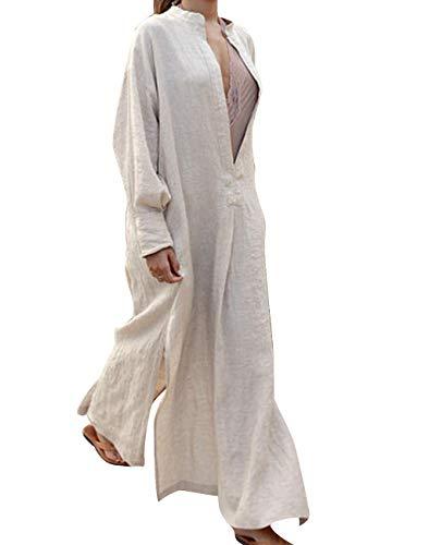 716700d7d529ef HAHAEMMA Damen Kleider Maxikleid Lose Kleid Langarm Retro Leinen Baumwolle  Lange Kleider Elegante Bluse Breite APiläufige