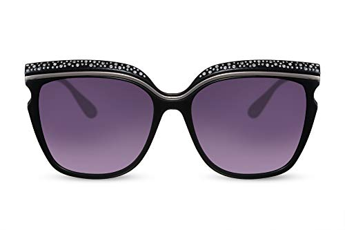 Cheapass Damen-Sonnenbrille Cat-Eye Braun Schmetterling Diamanten Leopard Groß Rund Plastik Frauen