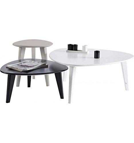 Set de 3 tables basses design laquées Smooth Couleur Blanc-Gris-Noir