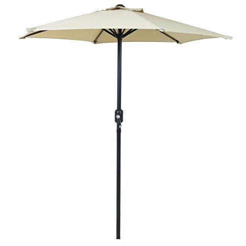 Charles Bentley 2M Market Umbrella Sunshade Patio Garden Parasol With Crank Function - Beige