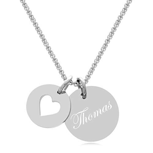 Timando Damen Kette mit Gravur Herz Anhänger Namenskette Edelstahl 60 cm