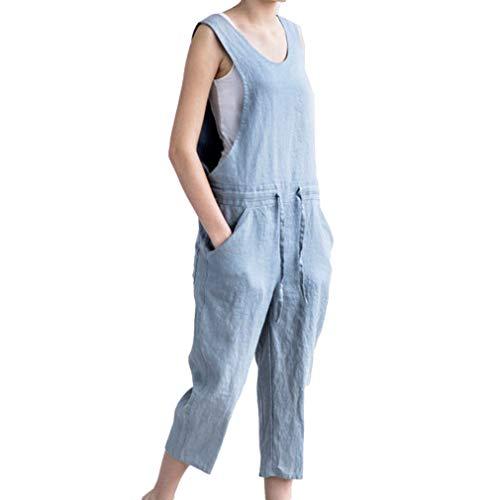 59018e2496 Monos Vaquero para Mujer Verano Casual Denim Pantalones Sin Mangas Bolsillo  Pantalones Color Sólido Romper Pretina