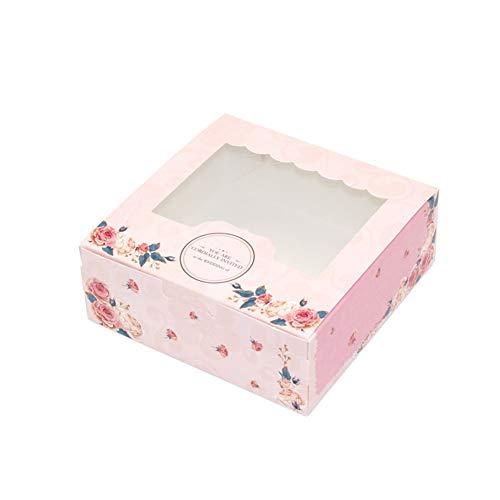 hachtel, faltbare Geschenkbox, süße Süßigkeiten Rose Party Hochzeit mit Fenster Cookies Papier für Geburtstagsfeier Hochzeitstag Dekorationen(M) ()