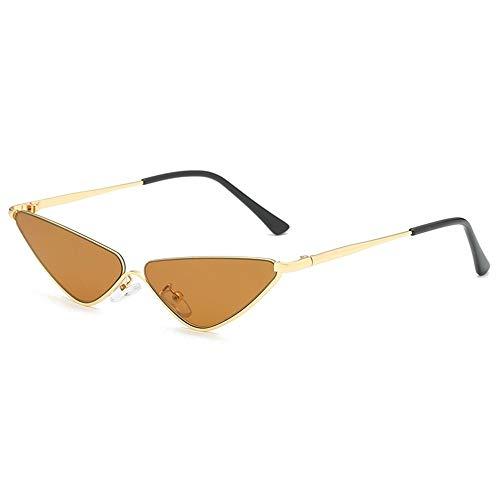 LAMAMAG Sonnenbrille Retro Kleine Cat Eye Sonnenbrille Für Frauen Metall Halbbild Schatten Dreieck Brillen Vintage Cateye Sonnenbrille, 3
