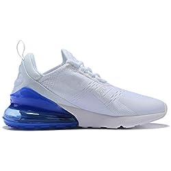 Hojert Air Max 270 Chaussures de Running Compétition Femme Homme Sneakers (43 EU, Blanc/Bleu Royal (10))