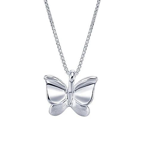 Silverage Argent sterling Tréfilage Papillon Pendentif Collier 45,7cm