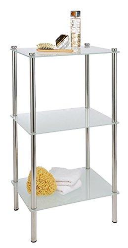 verchromtes Badregal mit 3 satinierten Glasböden im eleganten Design (42 x 32 x 75 cm) 33340