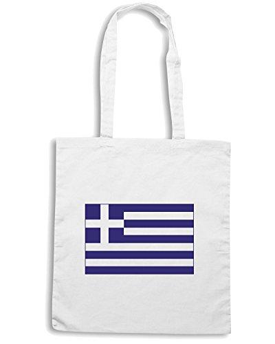 T-Shirtshock - Borsa Shopping TM0194 Greece Flag flag Bianco