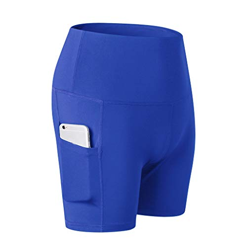 WOZOW Damen Leggings Solid Basic Seitentasche Fahrradhosen Sporthosen Short Stretch Skinny High Waist Workout Laufhose Yoga Kurze Hosen (M,Blau)