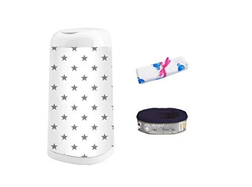 Angelcare Windeleimer Dress-Up | Nachfüllkassette Dress-Up | Dress-Up Bezug | inkl. Blaubär-Windel, Design:Sterne grau, Größe:1 Nachfüllkassette (Up Dress Jungen Für)