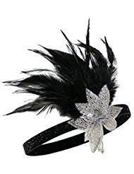 Metme 1920s Feder Stirnband 20er Jahre Stil Flapper Haarband Gatsby Stirnband Damen Kostüm Charleston Accessoires Weiße Blume + Schwarz (Cyber Monday Kostüm Angebote)