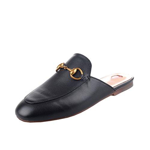 Y2Y Studio Chaussures Mules Ballerines Plate Cuir Suede Femmes de Marque avec Brodées et Dentelle Chic Confortables pour Ete
