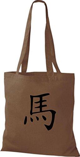 ShirtInStyle Stoffbeutel Chinesische Schriftzeichen Pferd Baumwolltasche Beutel, diverse Farbe chestnut