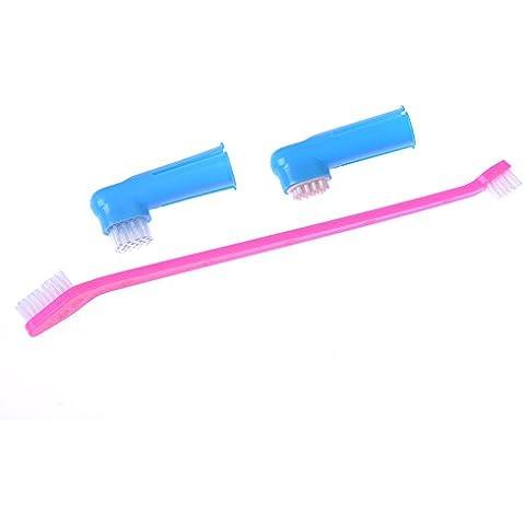3Pcs Perro Gato Mascotas Animales Cepillo + Dientes Cepillo de dientes dedo limpio cepillo dental