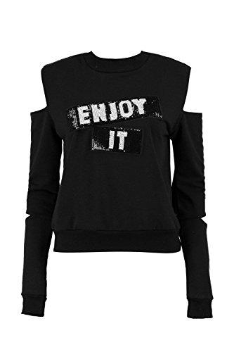 Noir Femmes Erin Sweat À Manches Découpées Et Empiècement En Sequins Enjoy It Noir