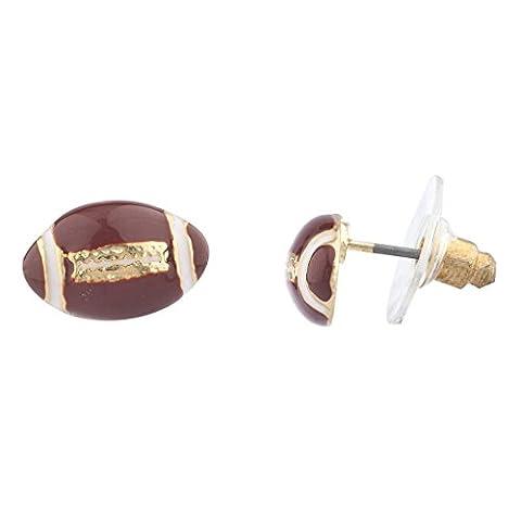 Lux Accessoires Doré Marron Blanc en émail de football Sports Post Boucles d'oreilles