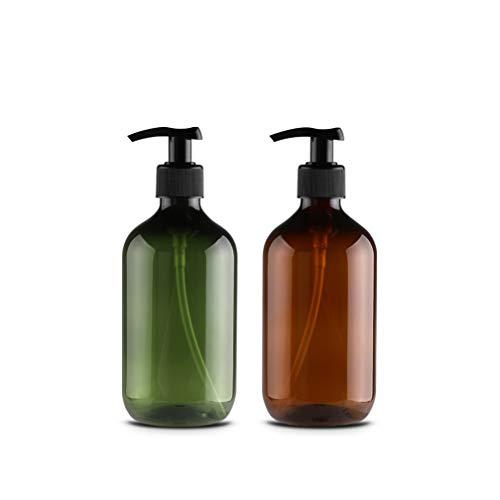 6x 500ml Marrón Verde Vacío Plástico Loción Botellas