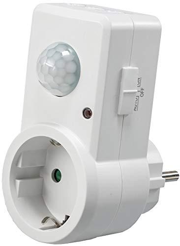 Zwischenstecker Steckdose mit Bewegungsmelder 120° I 9m Reichweite 230V 1200W LED geeignet I Schaltzeit regelbar 10sek.-15min I Empfindlichkeit einstellbar I Weiß