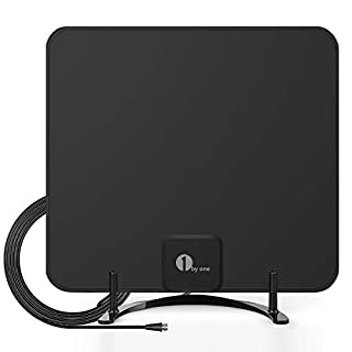 1byone Freeview TV Aerial with Stand - HDTV Antenna with Excellent Performance for Digital Freeview and Analog TV Signals, Indoor Digital TV Aerial(Black)