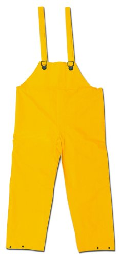 MCR Safety 200BFM Classic PVC/Polyester Bib Pants with Plain Front, Yellow, Medium by MCR Safety (Front Plain Polyester Pant)