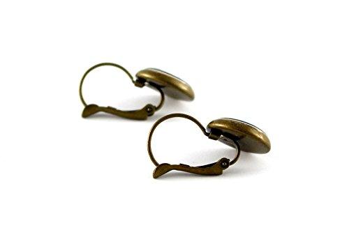 Ohrringe mit Blumen Ranken Motiv Ohrhänger Brisuren / Farbe der Fassung wählbar (bronze) -