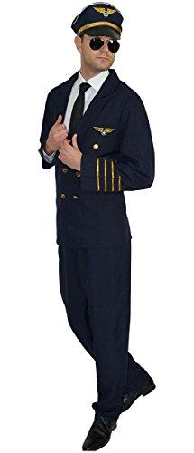 MAYLYNN 17162 - Pilotenkostüm Kostüm Pilot Faschingskostüm mit Mütze, Größe: L - Air Force Uniform