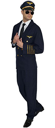 MAYLYNN 17162 - Pilotenkostüm Kostüm Pilot Faschingskostüm mit Mütze, Größe: XL (3 Teiliges Stewardess Kostüm)