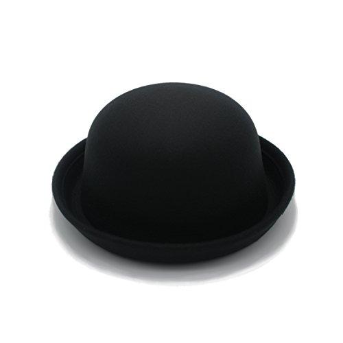 JEDAGX Vintage Style Frauen Woolen Roll-up Krempe Fedora Bowler Hat-Black
