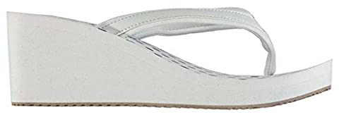 Ladies Summer Stylish EVA Wedge Flip Flops Beach Shoes (5 (38), White/Navy)