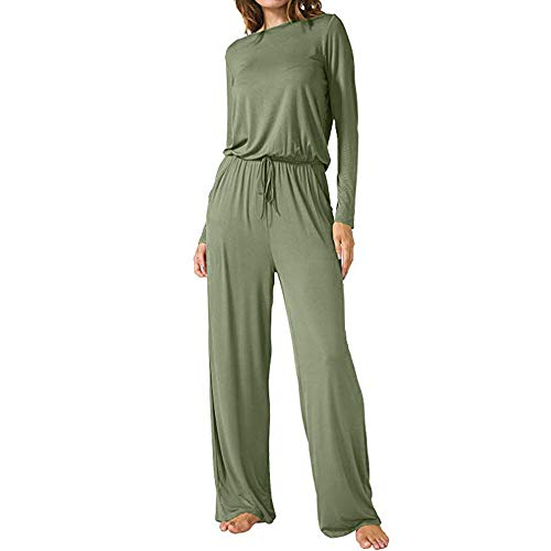 MYMYG Overalls Damen Solide Casual O Neck Loose Wide Legs Lange Jumpsuits mit Taschen Jumper Abendmode Lose Tunika Top Oversized T-Shirt Stretch Playsuit Hoher Taill Spielanzug
