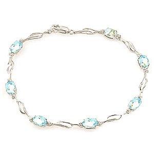QP joailliers Bracelet diamant et Aigue-marine naturelle en or blanc 9carats, 3,38CT Coupe ovale-4280W