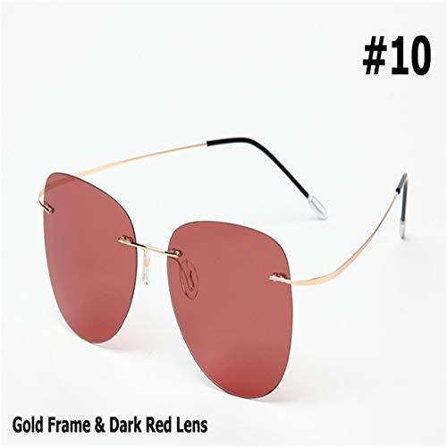 Sport-Sonnenbrillen, Vintage Sonnenbrillen, New Fashion Men Driving Ultralight Titanium Polarized Sunglasses Rimless Aviation Sun Glasses Oculos De Sol 10