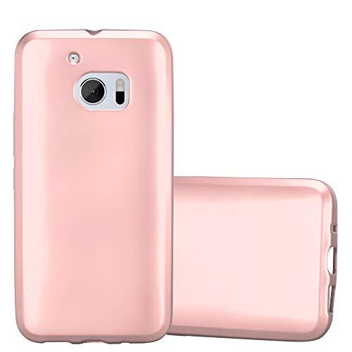 Cadorabo Hülle für HTC 10 (One M10) - Hülle in METALLIC Rose Gold - Handyhülle aus TPU Silikon im Matt Metallic Design - Silikonhülle Schutzhülle Ultra Slim Soft Back Cover Case Bumper
