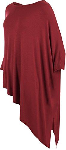 WearAll - Damen 3/4 Mütze Hülle Ebene Ausgebeult Oversize T-Shirt Damen Top - 2 Farben - Größe 42-54 Wein
