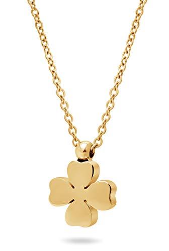 Nuoli® Kette Kleeblatt Gold (45 cm) Halskette mit Glücksklee Anhänger (Goldene Halskette Verschluss)