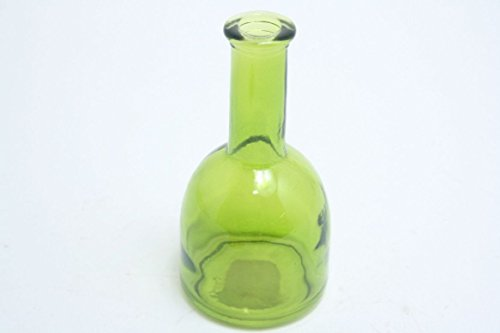 Glasvase / Flasche KAYRA, transparent grün, 15,5 cm, Ø 8 cm - buntes Glas / Blumen Tischvase -...