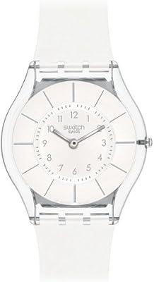 Swatch SFK360 - Reloj analógico de mujer de cuarzo con correa de silicona blanca