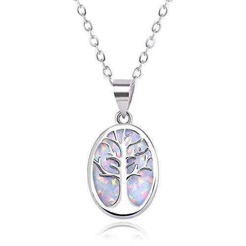 KELITCH Kette Damen Frauen Lebensbaum Rund Gravur Geschaffen Opal Anhänger Halskette 925 Sterling Silber Überzogen Versilbert Ketten - Weiß