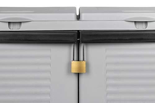 Hier passt viel rein! XXL 3-Türen Gartenschrank mit drei Halterungen für Müllsäcke und Recycling. Frontseitig und von Oben zu öffnen. In neutralem Grau. - 5