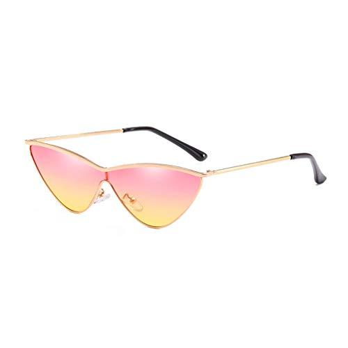 Sonnenbrille Außendekoration Fahren Einkaufen Anti-UV Anti-Glare Komfortable Metall Katzenaugen Damenbrille (Farbe: Gold Frame Pink Yellow Lens)
