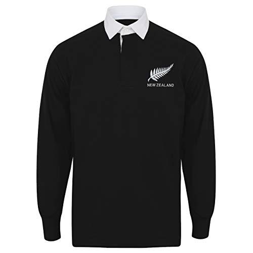 """Herren Rugby-Shirt, personalisierbar, Neuseeland, schwarz/weiß, L - 42"""""""