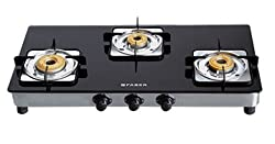 Faber Supreme Plus Glass 3 Burner Cooktop, Black (106.0534.538)