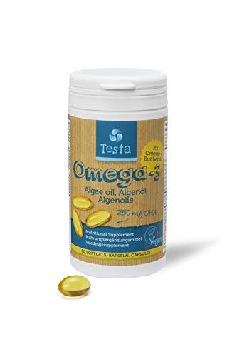 Testa Omega-3 Algenöl - 250mg DHA - Pflanzlichen Omega-3 - Reines und Veganes - viel gesünder als Fischöl - 60 Kapseln (1 Verpackung) - Omega 3 Dha Kapseln